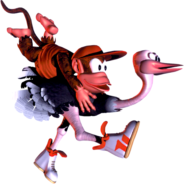 Diddy_and_Expresso_-_Artwork_-_Donkey_Kong_Country