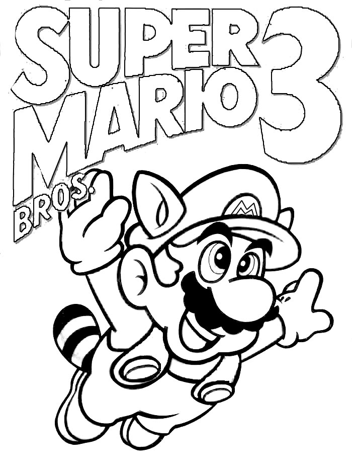 Mario Coloring pages Black and white super Mario drawings for you
