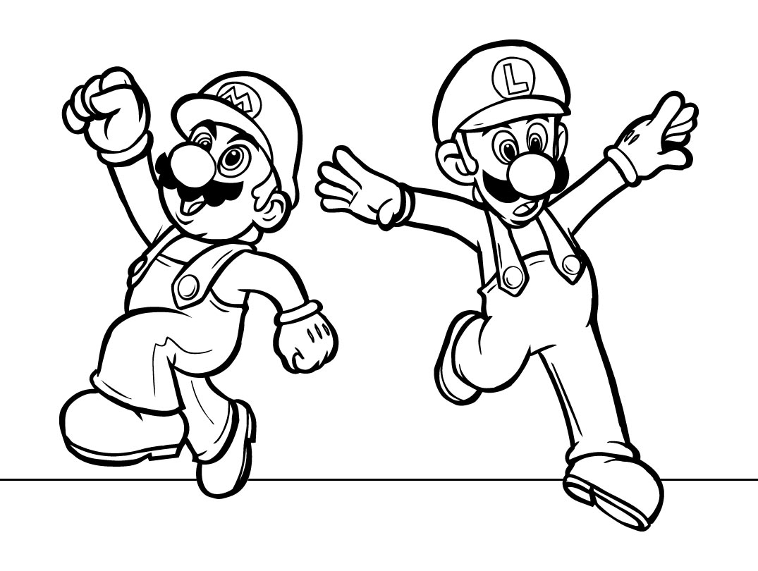 Mario Coloring pages - Black and white super Mario drawings for you ...