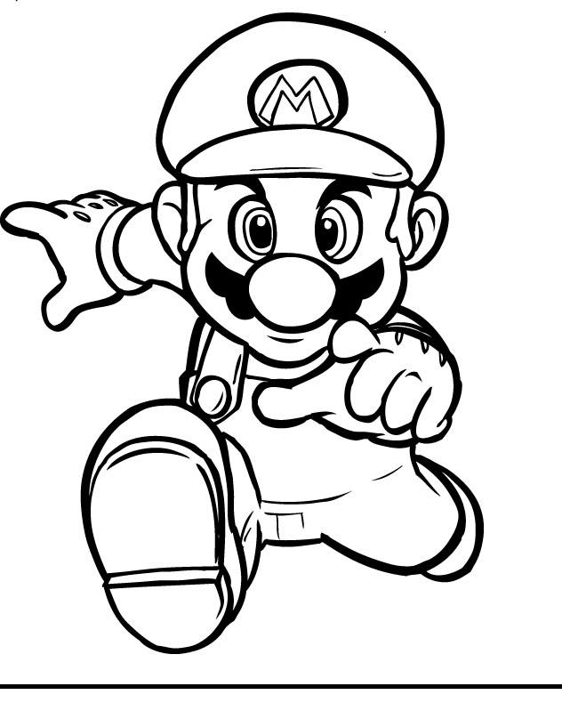 Mario coloring pages black and white super mario for Mario color page