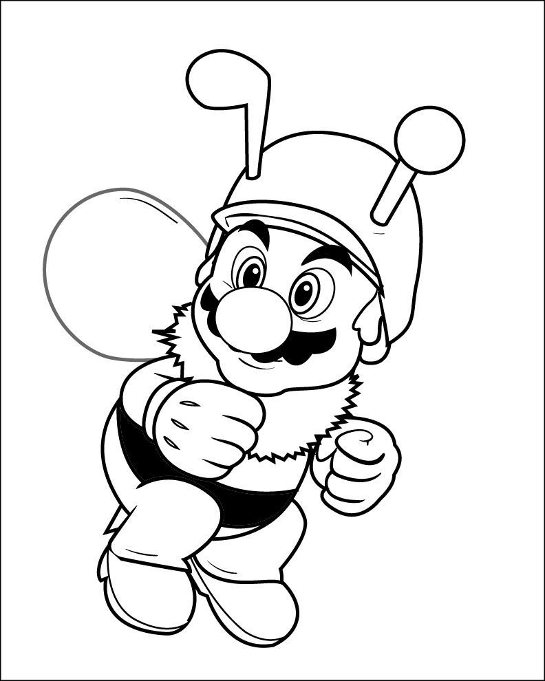 mario coloring pages black and white mario