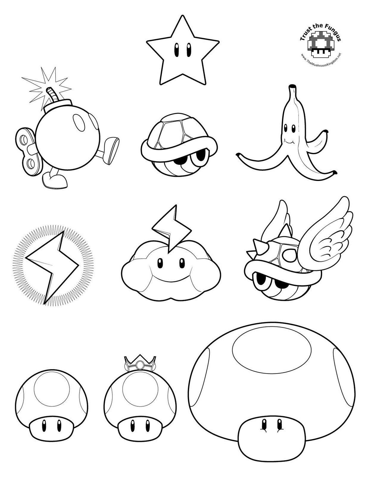 mario brothers coloring pages free - photo#8