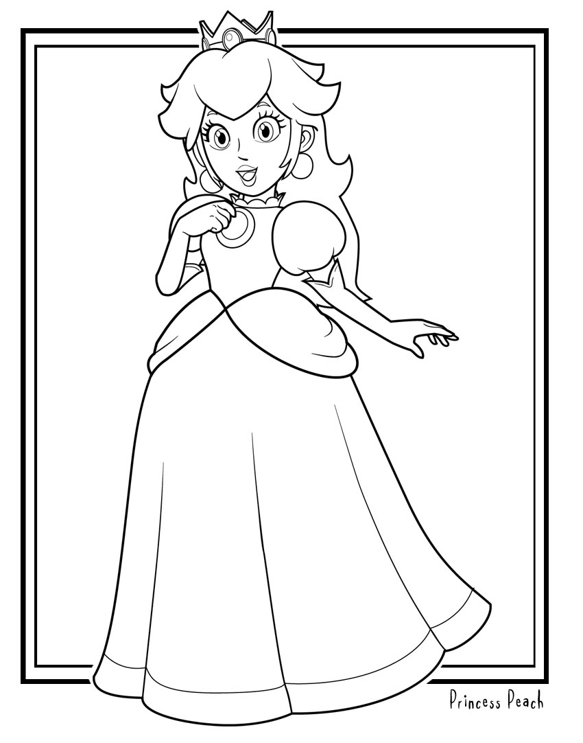 mario princess peach coloring pages - photo#6