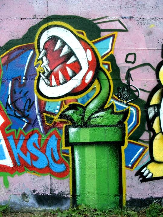 Coloring pages of chidos graffiti - Super Mario Graffiti Mario Bros Spray Paint
