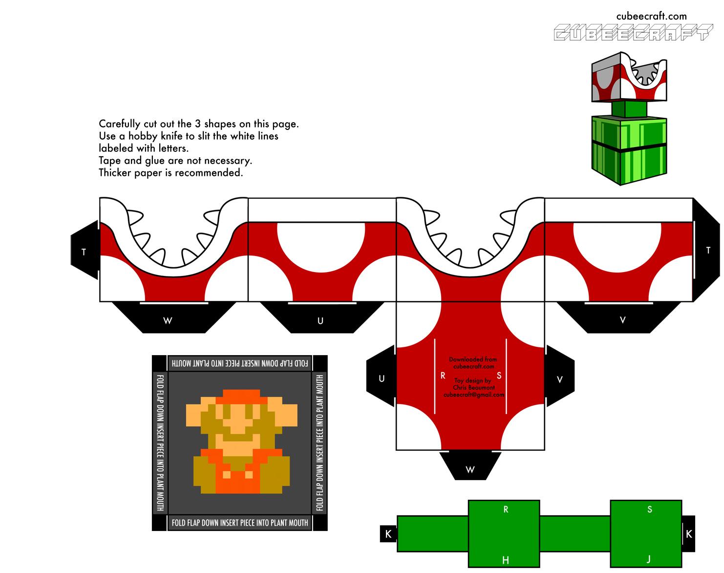 Super mario papercraft mario origami mario piranha plant papercraft altavistaventures Image collections