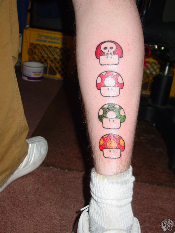 Leg Mushrooms. Much cooler than it sounds :P, Mario Tattoos