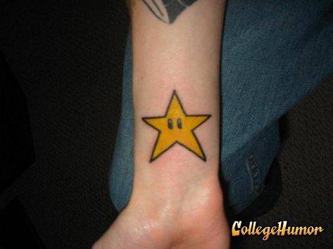 Star tattoo. A Mario star on someone's wrist
