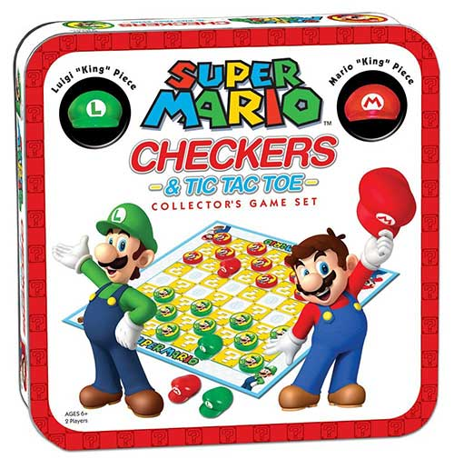 Super Mario Checkers and Tic Tac Toe Board Game
