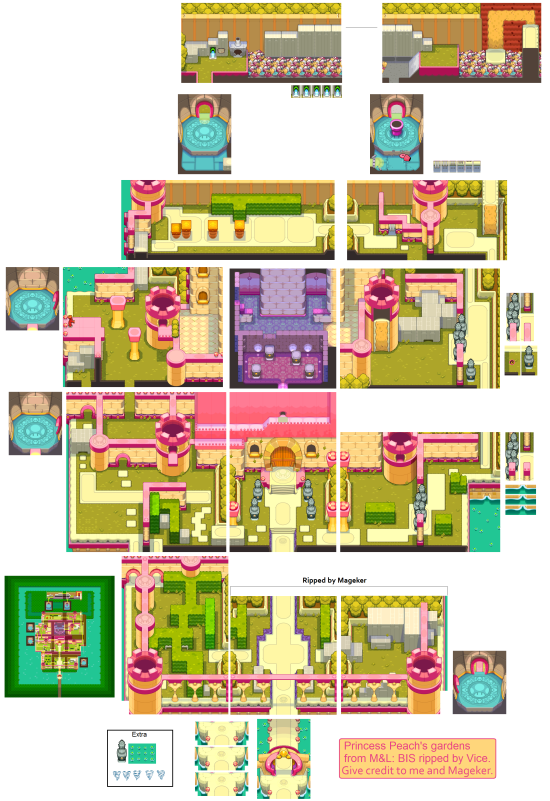 Mario and Luigi Bowsers Inside Story Overworld Backgrounds Peachs Garden