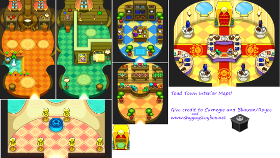 Mario and Luigi Bowsers Inside Story Overworld Backgrounds Toad Town Interiors