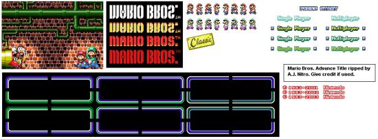 mario bros classic title screen