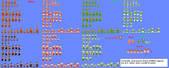 Super Mario Bros. Deluxe - Playable Characters - Friendly Characters