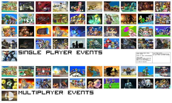 Super Smash Bros Brawl menus event icons