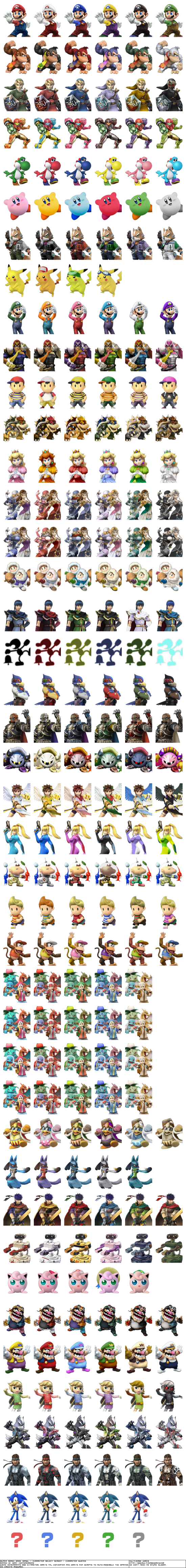 Super Smash Bros Brawl renders character busts