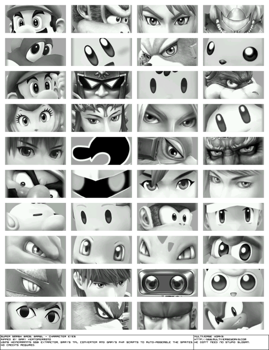 Super Smash Bros Brawl renders character eyes
