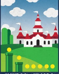 The Mushroom Kingdom Retro Poster